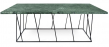 Helix Sofabord - Grøn - Grønt marmorsofabord med sort stålstel