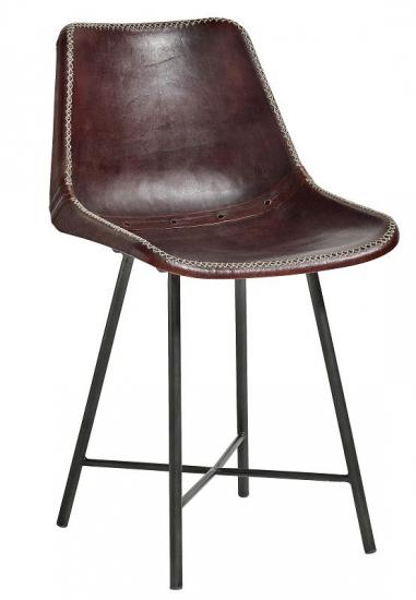 Lige ud Nordal - Spisebordsstol - Brunt læder - Gratis fragt CG78