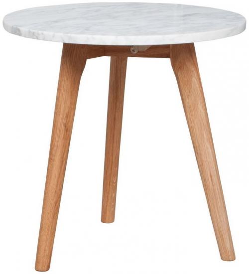 White Stone Sofabord - Ø40 - Trendy lille sofabord i marmor