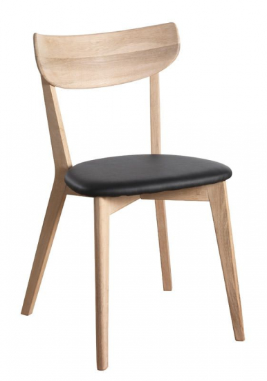 Ami Spisebordsstol - hvidvasket Eg, Sort PU sæde