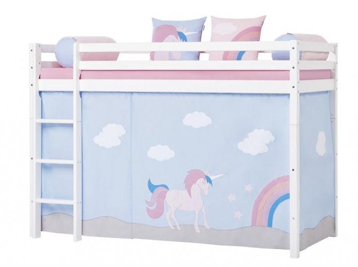Hoppekids - Unicorn Forhæng 200x90 - Lys blå - Unicorn forhæng til mellemhøj seng 200x90