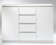 Naia Skænk - Hvid B:120 - Hvid skænk med skuffer og skabe