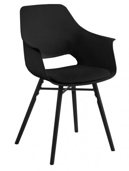 Lola Spisebordsstol m/armlæn - Sort plast