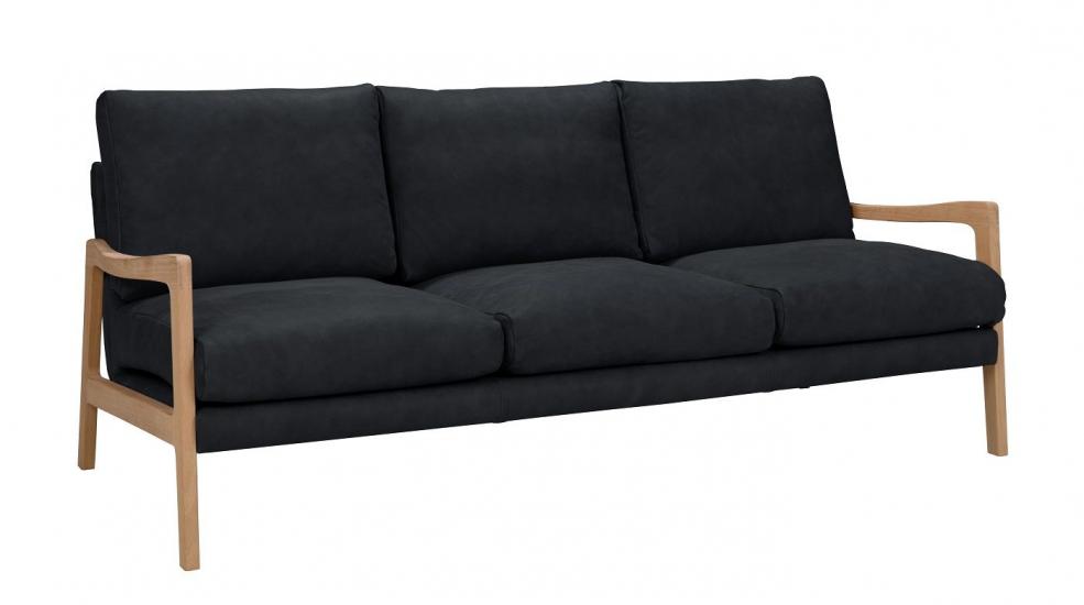 Solo 3-pers. Sofa m. ege ben - Blå Læder