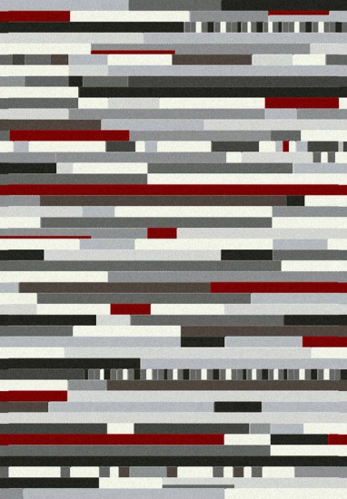 Valencia Multi - Rød/Hvid - Tæppe i hvid og rød - 200x290 cm