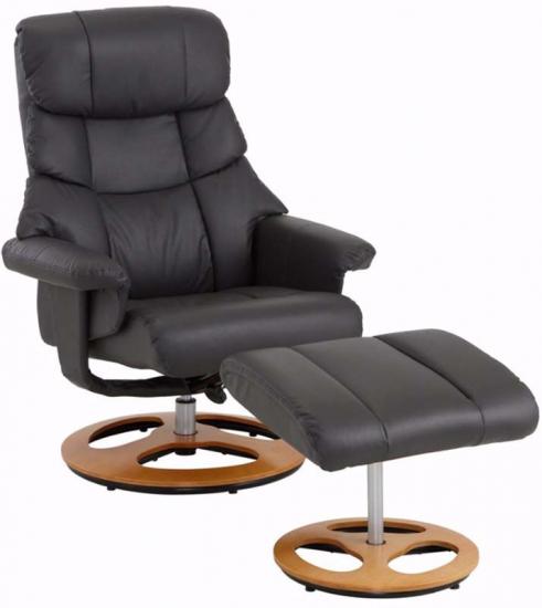 Tony Hvilestol med skammel Mørk grå læder og PU - Hvilestol i gråt læder