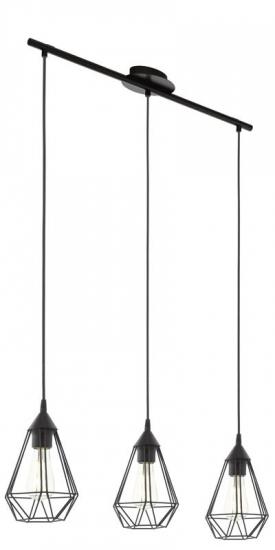 Tarbes Loftlampe m. 3 metal Pendel - Sort - Sort pendel
