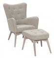 Palmetto Lænestol med skammel - beige Uld