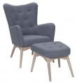 Palmetto Lænestol med skammel - Blå Uld