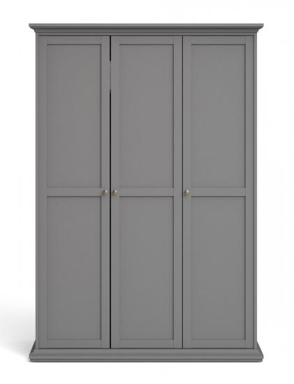 Paris Garderobeskab m. 3 låger - Mat grå