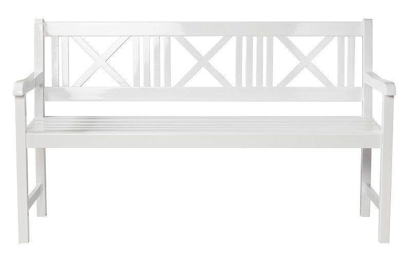 Løkken  Bænk - Hvid - Havebænk i hvidmalet mahogni