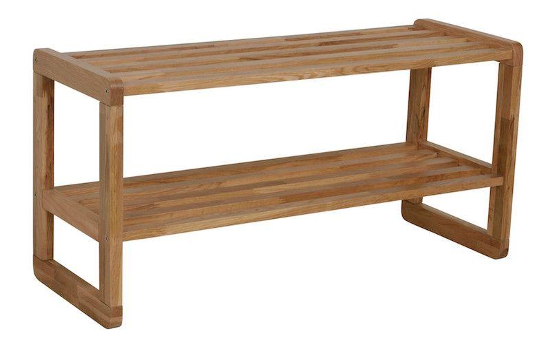 Metro Skohylde, 2 hylder - matlakeret eg - Skohylde i lyst træ - 80 cm