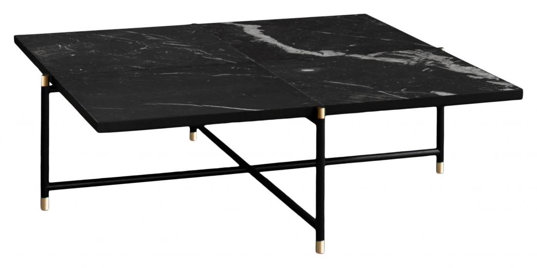 HANDVÄRK Sofabord 92x92 - Sort Marmor, messing