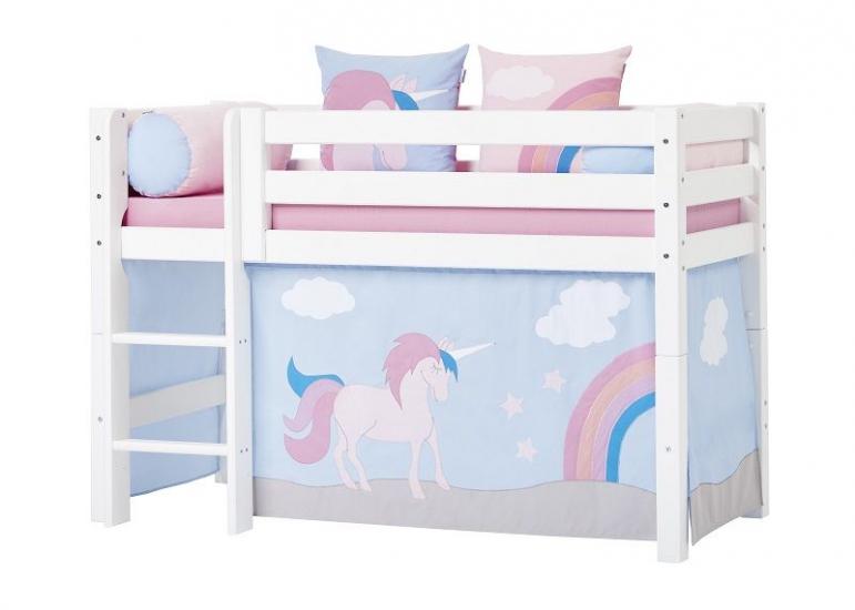 Hoppekids - Unicorn Forhæng 160x70 - Lys blå - Unicorn forhæng til mellemhøj seng 160x70