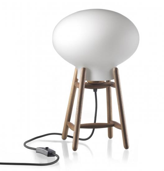 FDB Møbler - U4 Hiti Bordlampe - Opal/Valnød