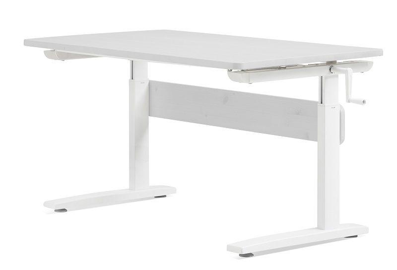 FLEXA Study Junior Skrivebord - Hvidpigmenteret - Hæve-/ sænkebord med hvidpigmenteret bordplade