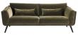 Pelham 3-pers. sofa - Oliven Grøn Velour - Sofa med sorte ben i eg