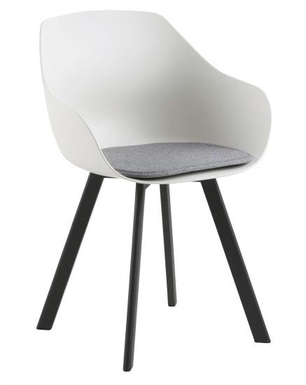 Tina Spisebordsstol m. lysegrå hynde - Hvid/Sort