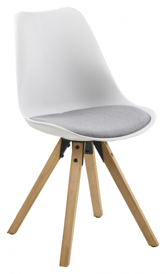 Fryd Spisebordsstol m/centerben - Hvid plast - Spisebordsstol med grå hynde