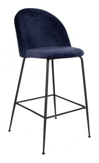 Lausanne Barstol i blå velour med sorte ben