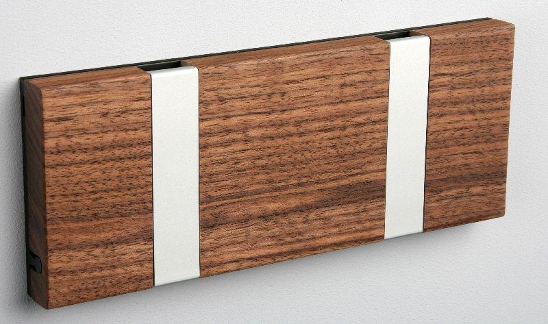 KNAX knagerække - Valnød - 2 aluknager - Knagerække med 2 aluminiumsknager