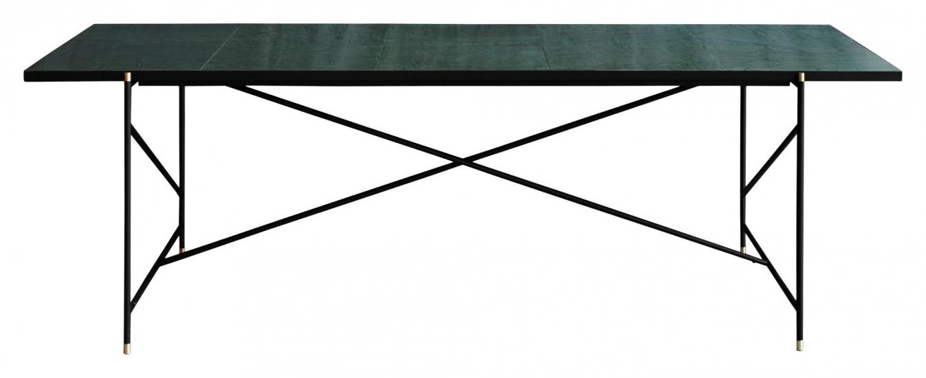 HANDVÄRK Spisebord 230x96 - Grøn Marmor, messing