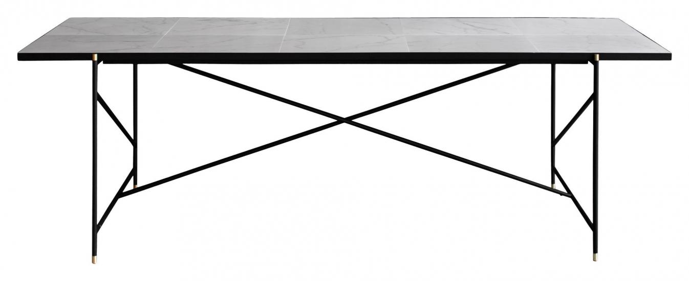 HANDVÄRK Spisebord 230x96 - Hvid Marmor, messing