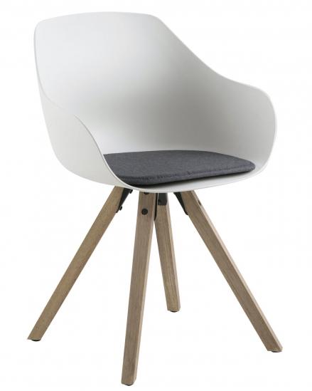 Kjempebra Tina Spisebordsstol hvid plastik - Lysegrå hynde ZN-24