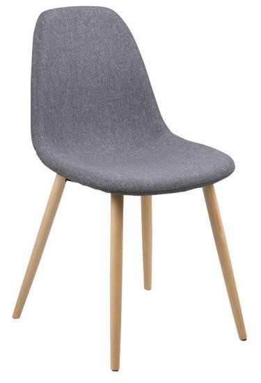 Selma Spisebordsstol - lysegrå med metal ben i egelook