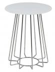 Sekura Sidebord - Hvid - Rundt sidebord med hvid glasplade