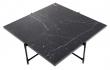 HANDVÄRK - Sofabord 92x92 - Sort Marmor, sort stel