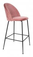 Lausanne Barstol i rosa velour med sorte ben