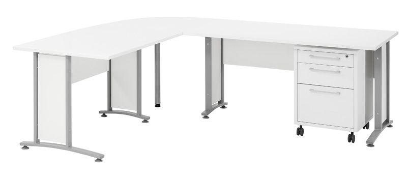 Prima Hjørneskrivebord - Hvid m/Skuffemodul