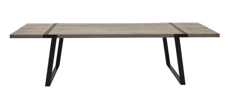 Rustic Spisebord 100x240 - hvidolieret eg og sort