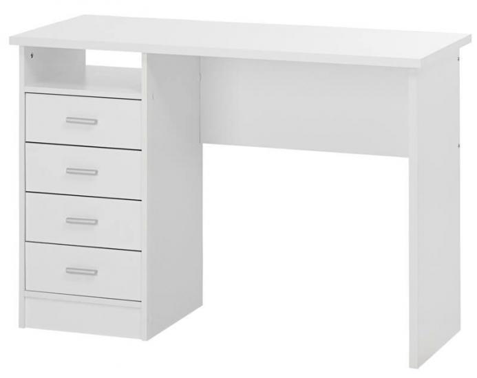 Function Skrivebord - Hvid m/4 skuffer