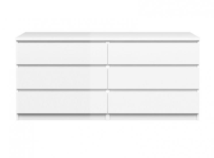 Naia Kommode - Hvid højglans m/6 skuffer