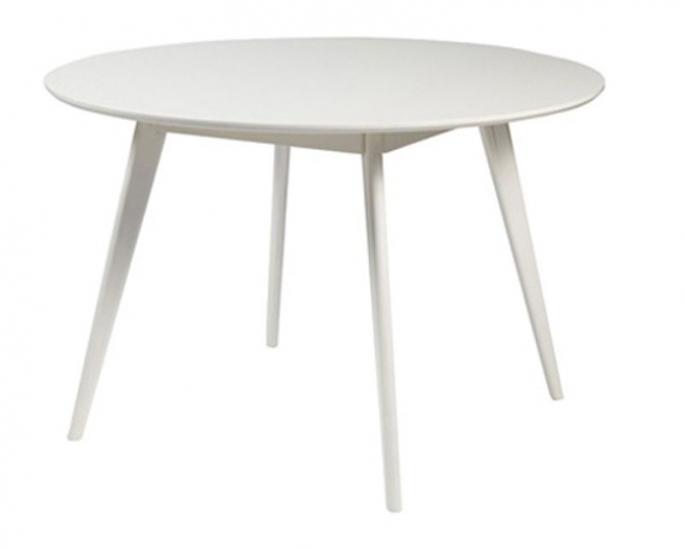 Yumi Spisebord - Hvid - Ø115 - Hvidt rundt spisebord i træ