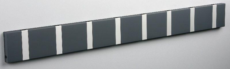 KNAX Knagerække - Antracit - 8 aluknager - Knagerække med 8 aluminiumsknager