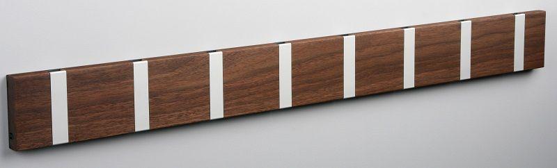 KNAX knagerække - Valnød - 8 aluknager - Knagerække med 8 aluminiumsknager