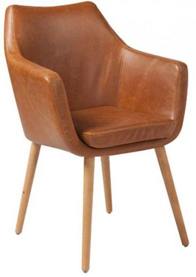 Amada Spisebordsstol - Cognac PU læder - Smart skalstol i brunt kunstlæder