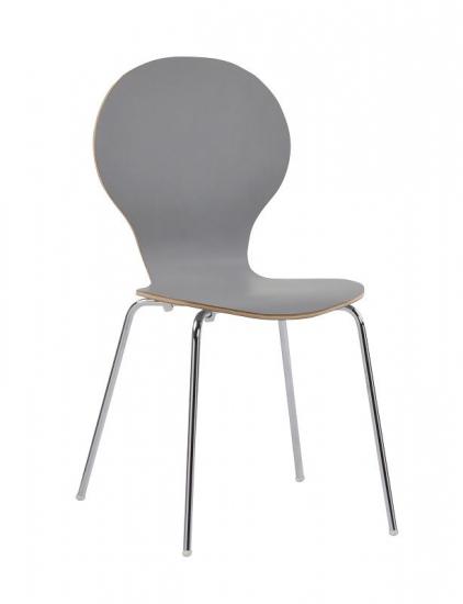 Bubble Spisebordsstol - Lys Grå krydsfinér - Formspændt stablestol