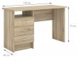 Function Skrivebord - Lys træ m/3 skuffer