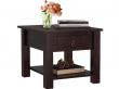Inga Sofabord Mørk lakeret fyrretræ - 50x50   - Sofabord med en skuffe