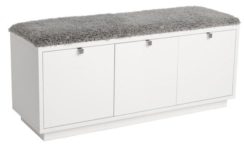 Confetti bænk m/3 skuffer Hvid - Grå hynde