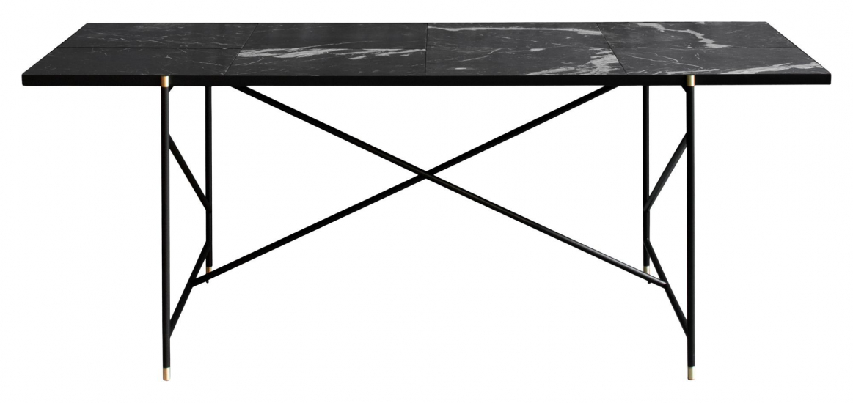 HANDVÄRK Spisebord 184x96 - Sort Marmor, messing