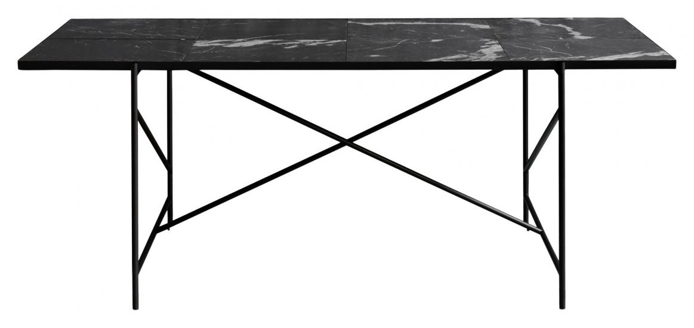 HANDVÄRK Spisebord 184x96 - Sort Marmor, sort stel