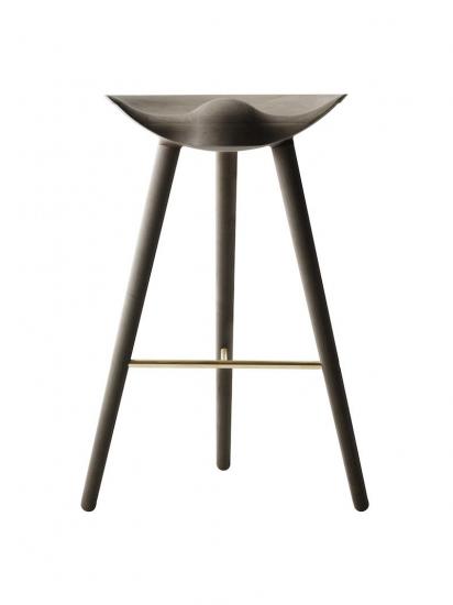 by Lassen - ML42 Barstol - Brun olieret eg/messing - Brun olieret barstol med messing