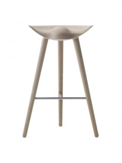 by Lassen - ML42 Barstol - Eg/Rustfrit stål - Barstol i egetræ og stål