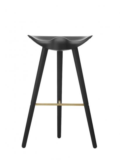 by Lassen - ML42 Barstol - Sort bejdset bøg/messing - Sort barstol med messing