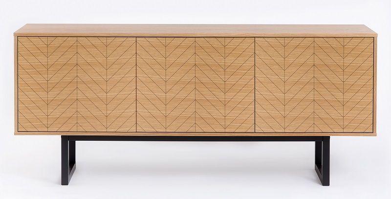 Woodman - Camden Skænk - Mønstret lys træ - Skænk i lyst træ